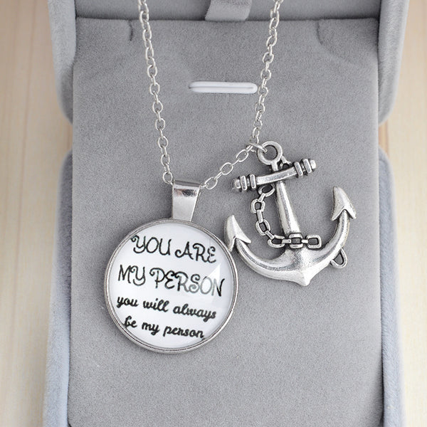 You Are My Person Anchor Pendant Necklace - BigBeryl