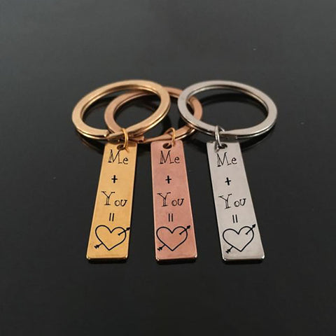 ME + YOU Engraved Key Chain for Couples - BigBeryl