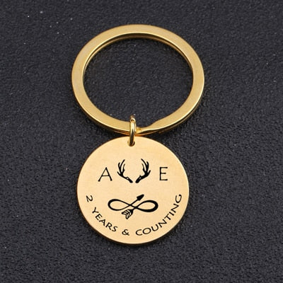 INITIAL ANNIVERSARY Engraved Key Chain for Couples - BigBeryl