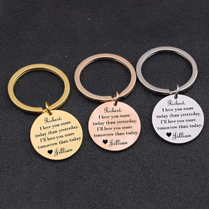 I LOVE YOU MORE TODAY Engraved Key Chain for Couples - BigBeryl
