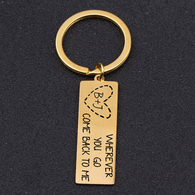 COME BACK TO ME Engraved Key Chain for Long-Distance Couples - BigBeryl