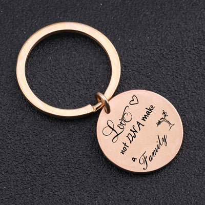 LOVE MAKES A FAMILY Engraved Key Chain for Step Parents - BigBeryl