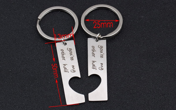 YOU'RE MY OTHER HALF Engraved Key Chain for Couples - 2 PCs - BigBeryl