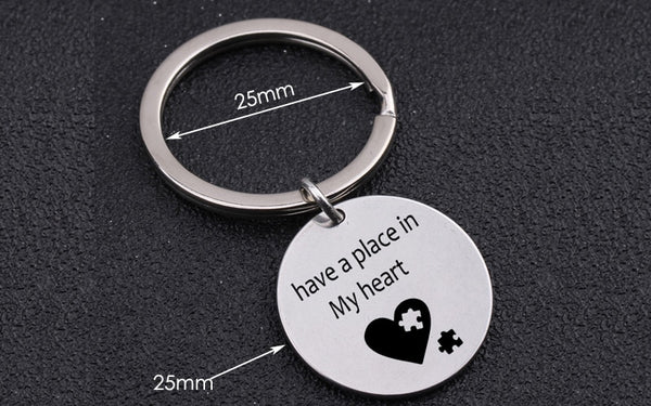 HAVE A PLACE IN MY HEART Engraved Key Chain for Couples - BigBeryl