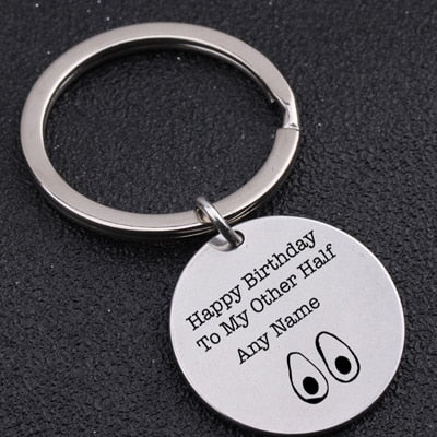 HAPPY BIRTHDAY TO MY OTHER HALF Engraved Key Chain for Couples - BigBeryl