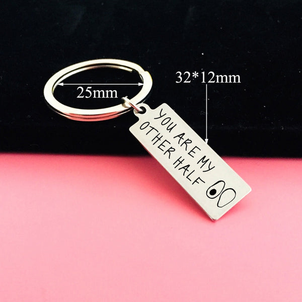 YOU'RE MY OTHER HALF Engraved Key Chain for Couples - BigBeryl