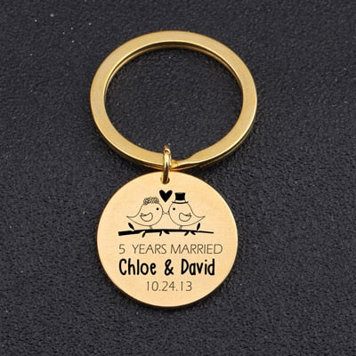 ANNIVERSARY SOUVENIR Engraved Key Chain for Couples - BigBeryl