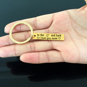 I LOVE YOU MORE Engraved Key Chain for Couples - BigBeryl