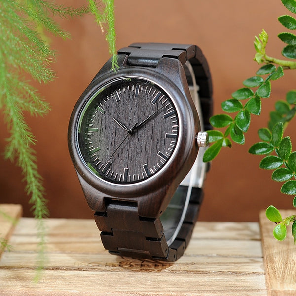 Dark Brown Wooden Engraved Personalized Watch For Men - BigBeryl
