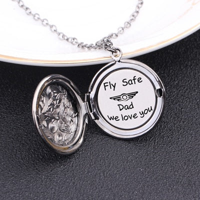 FLY SAFE Engraved Pendant Necklace for Dad - BigBeryl