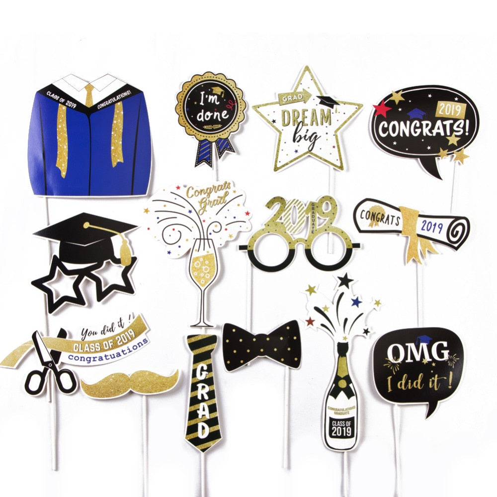 Graduation Photo Booth Props - 14 PCs - BigBeryl