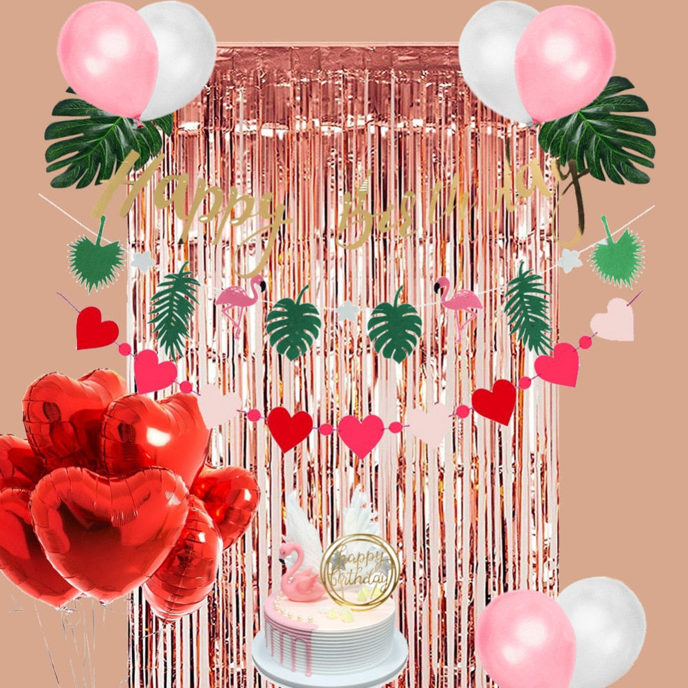 Flamingo Fringe Tinsel Birthday Party Decoration Kit - BigBeryl