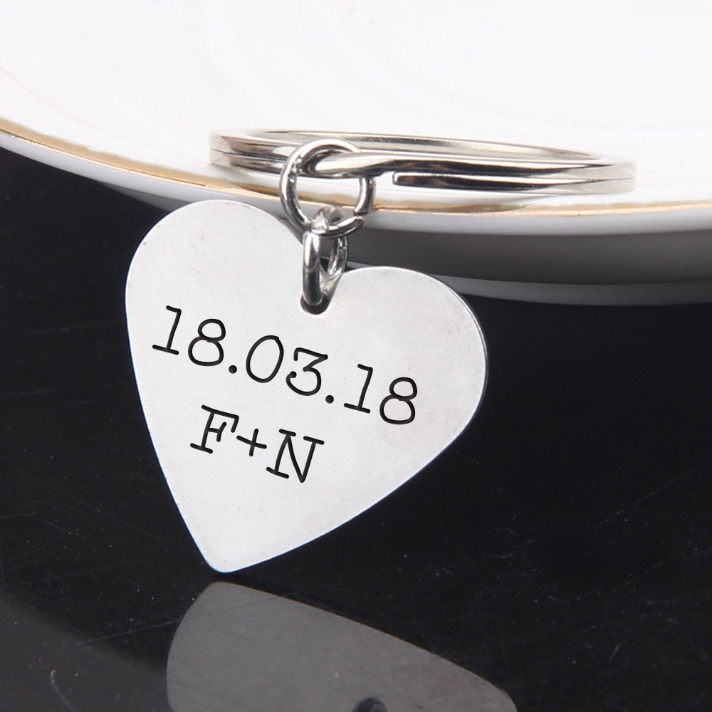 Custom Engraved Heart Keychain - BigBeryl