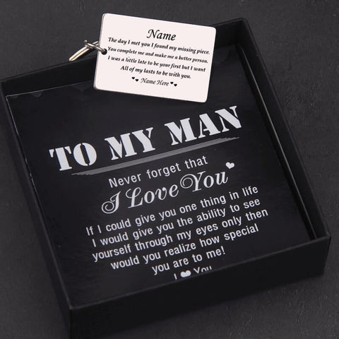 You Complete Me Personalized Engraved Keychain for Him With Gift Box