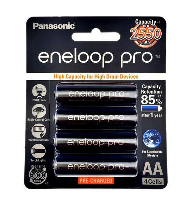 Panasonic Eneloop Pro BK 3HCCE 4BT AA Rechargeable Battery Pack of 4 (Black)