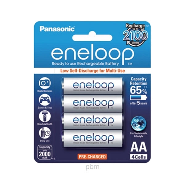 Panasonic Eneloop BK-3MCCE/4BT AA Rechargeable Batteries X4 (White)