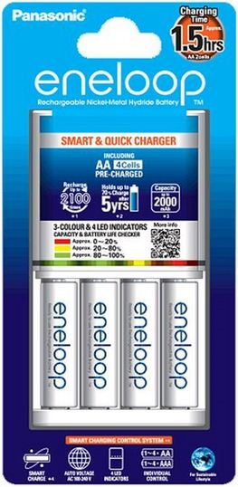 Panasonic Eneloop K-KJ55MCC40T Smart & Quick charger with 3-color LED with eneloop AA Battery Set of 4 (White)