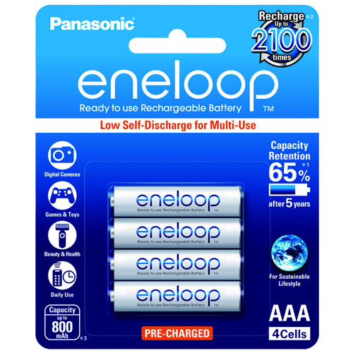 Panasonic eneloop BK-4MCCE-4BT AAA Rechargeable Battery Pack of 4 (White)