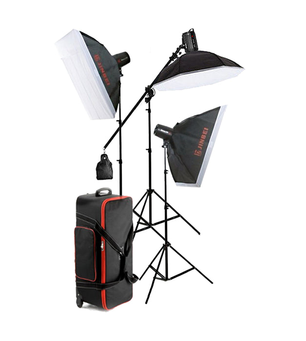 Jinbei Spark III-400 Flash Studio Strobe Package 3 Heads Kit (Built-in 2.4 GHz wireless receiver)