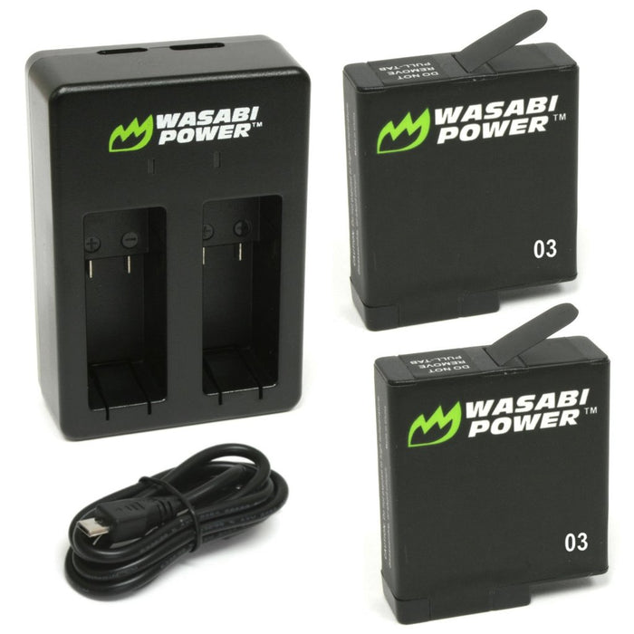 Wasabi Power Battery 2 Batteries & Charger for GoPro HERO5 Black (for All Future Firmware Updates)