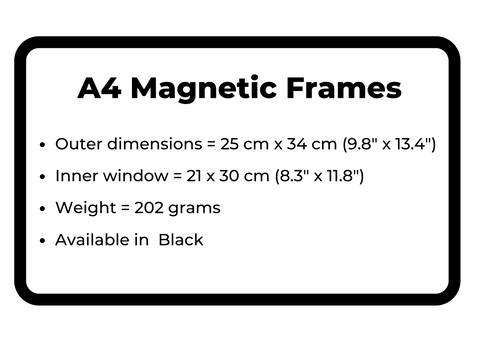 A4 Magnetic Frame sizing guide