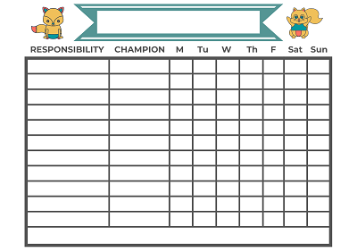 Champion chore chart by better day printables