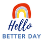 Hello Better Day logo with coloured rainbow. Tools to help reduce overwhelm.