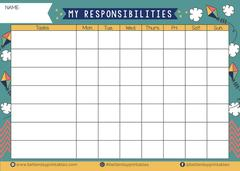 My responsibilities chore chart by better day printables