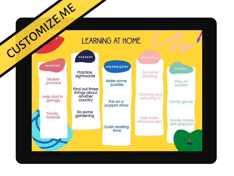 Customizable weekly learning schedule