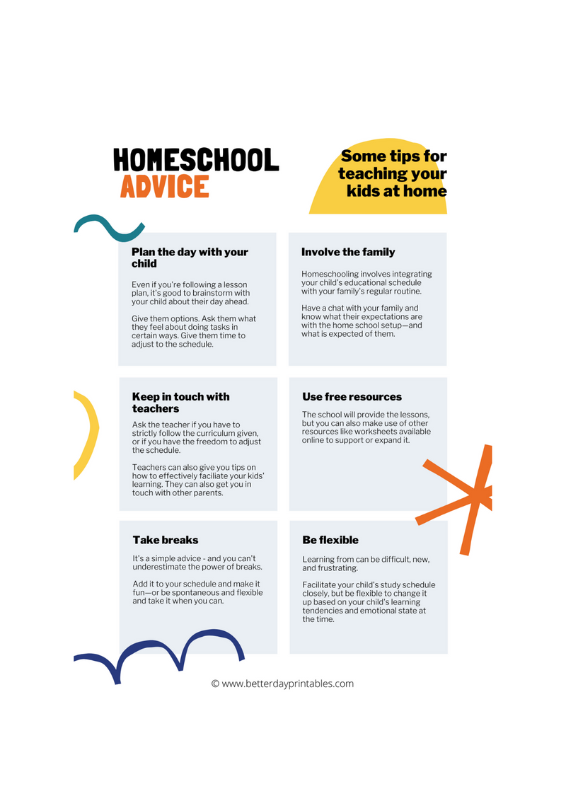 Home School Advice Sheet