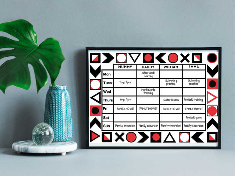 Customizable Weekly Planner - Abstract design