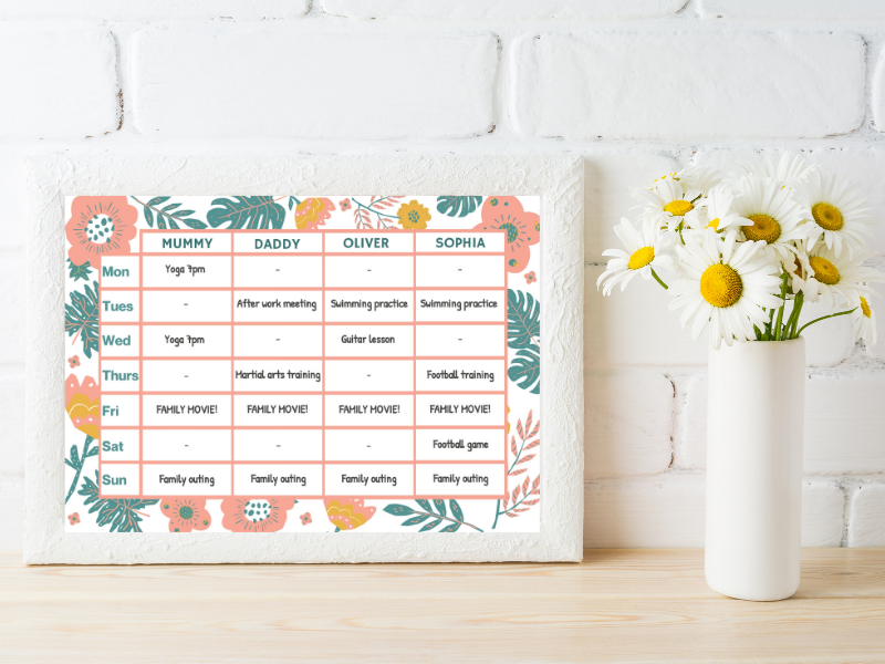 Customizable Weekly Planner - Pastel floral design