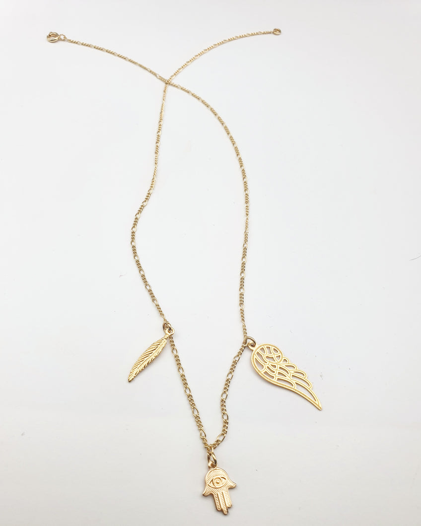 gold filled ketting met 3 hangers - lux & luz