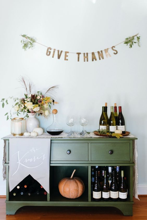 Thanksgiving Decor Bar Cart