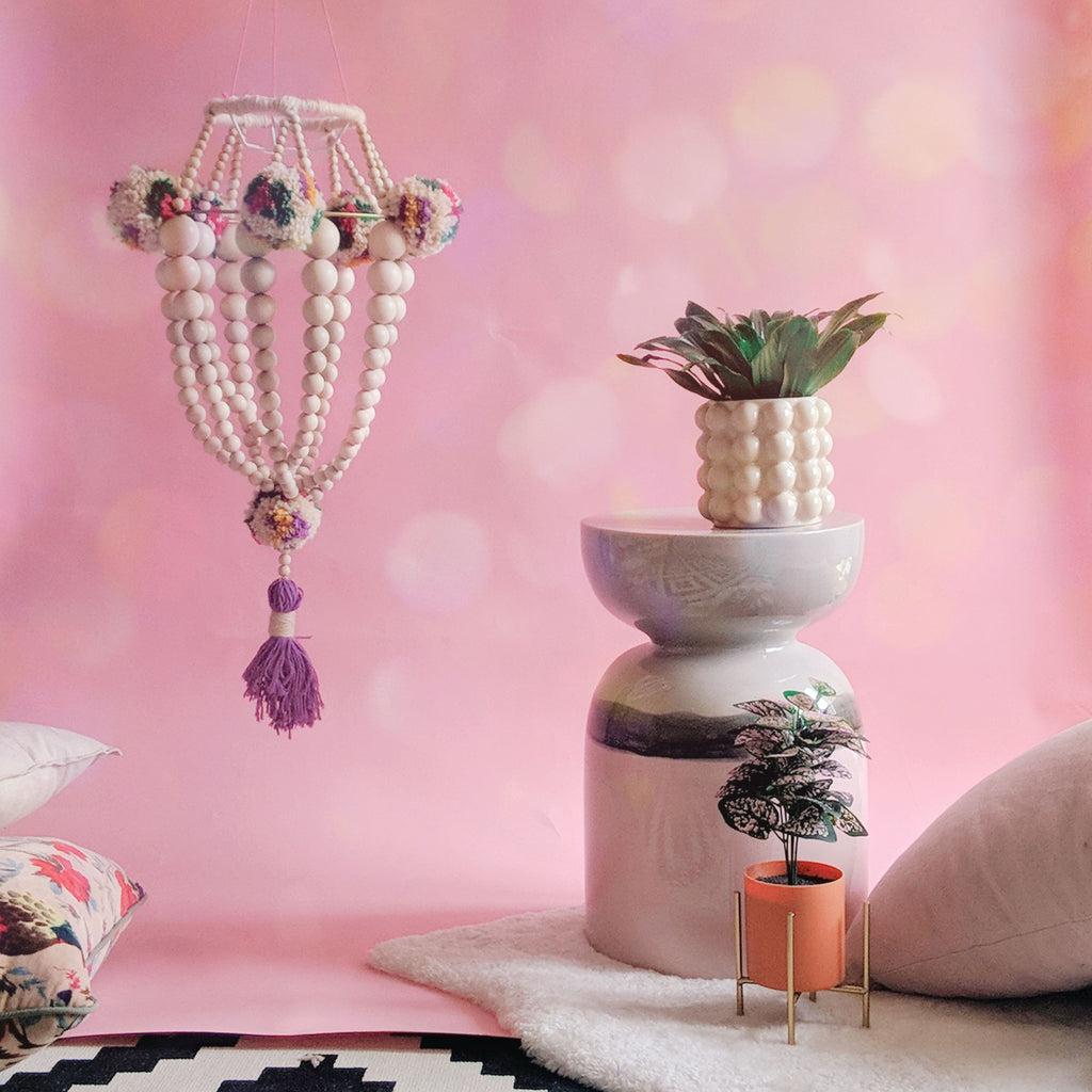The Fuzzy Bee: DIY Bead Chandelier