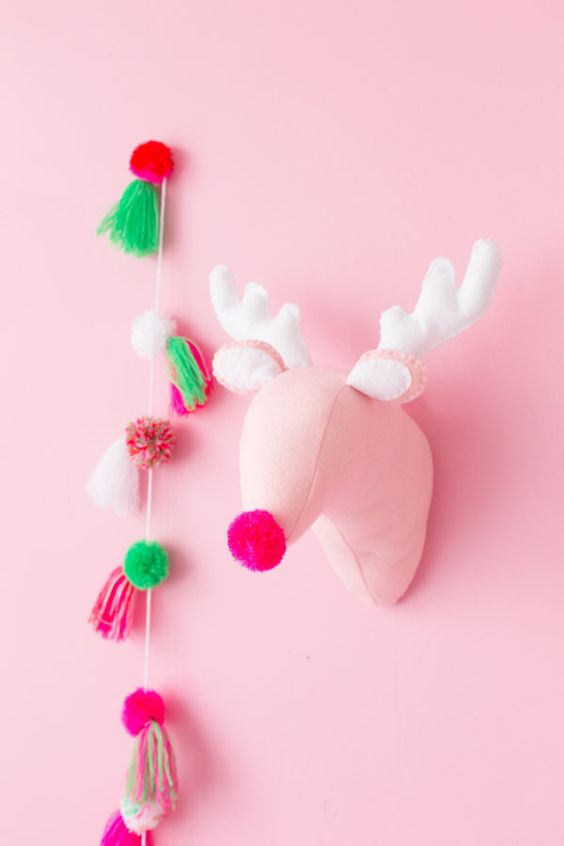 Pink Plush Reindeer Head