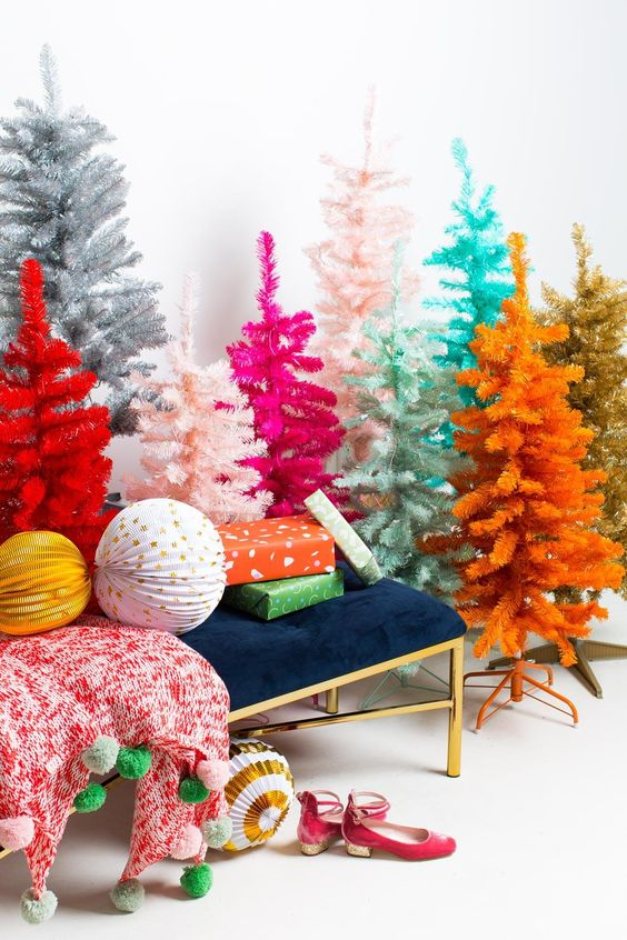 Multi Coloured christmas Trees