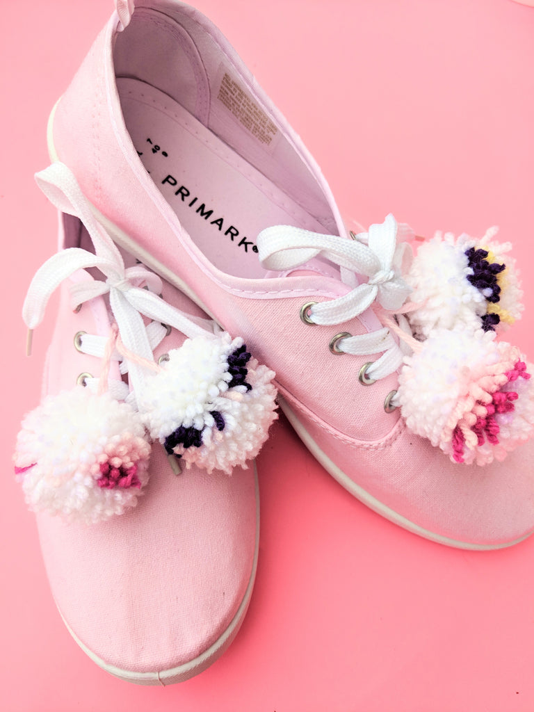 Pink Pom Pom Shoes- Fuzzy Bee DIY