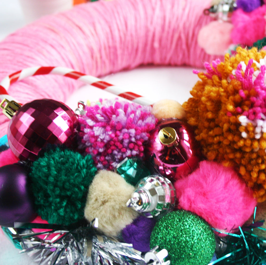 Pink Pom Pom Wreath DIY
