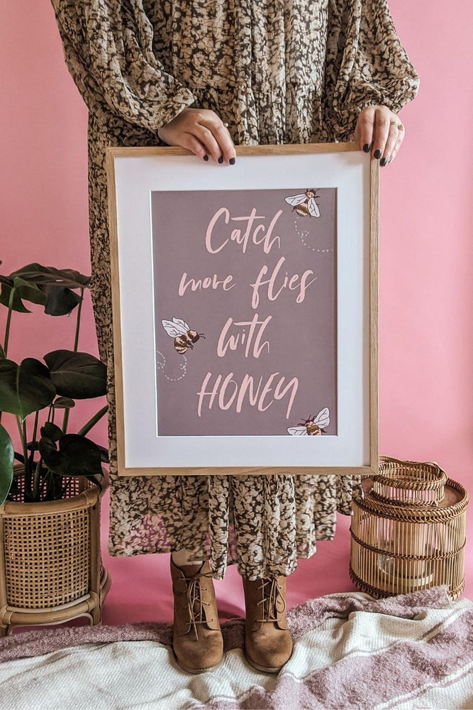 'Catch More Flies with Honey' Honey Bee Art Print