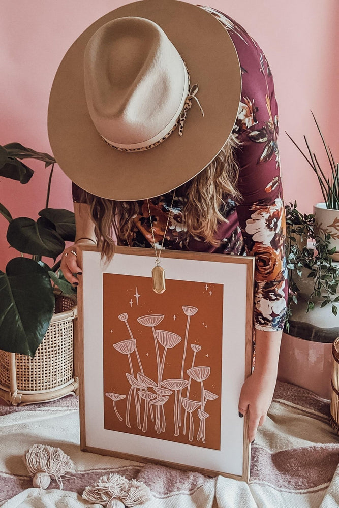 Sienna Simple Shrooms Art Print