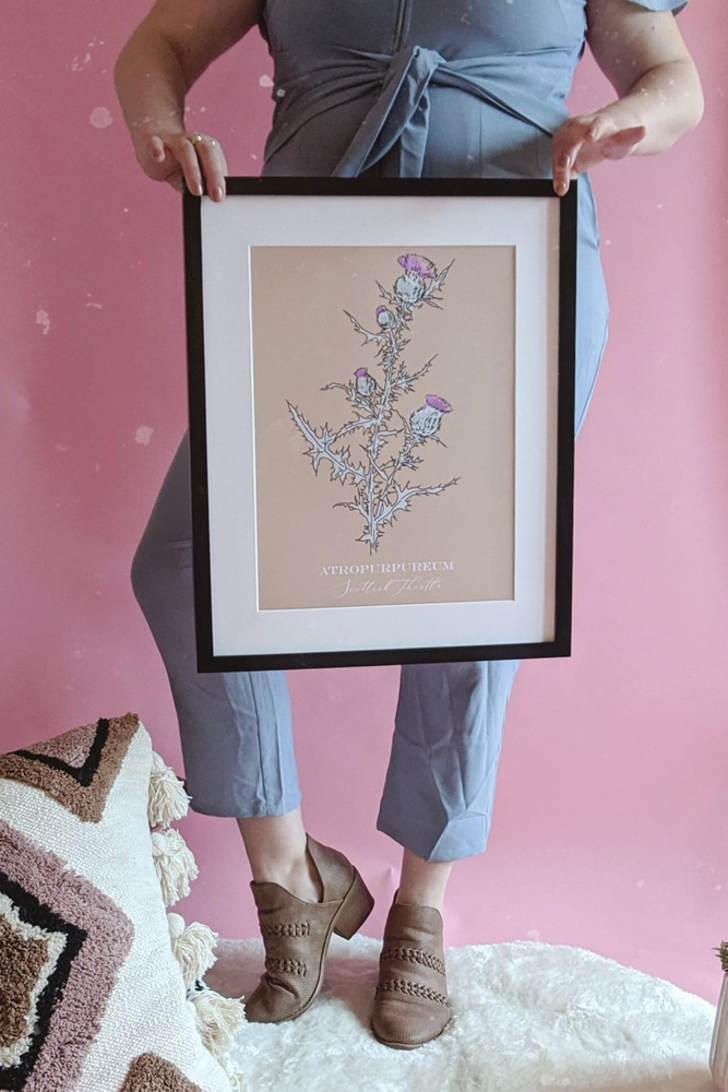 Boho Neutral Scottish Thistle Art Print