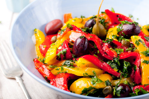 Foods rich in Vitamin C, such as bell peppers, benefit the skin