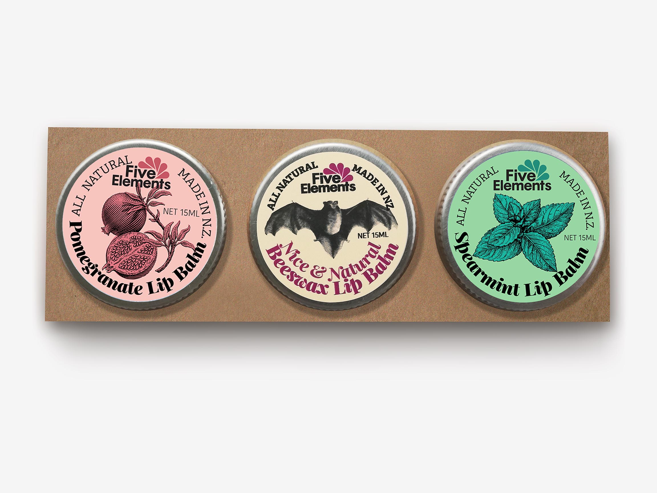 Natural Lip Balm Set - Pomegranate, Nice & Natural, Spearmint