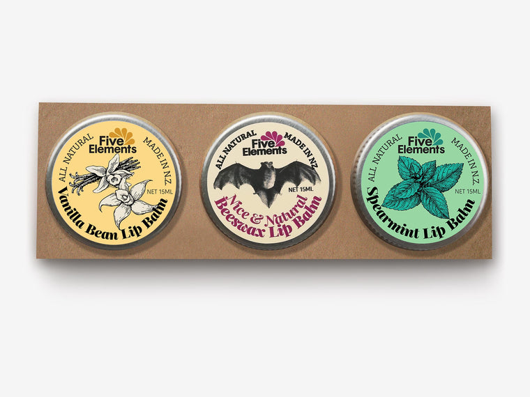 Natural Lip Balm Set - Vanilla Bean, Nice & Natural, Spearmint