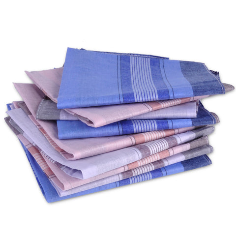 12Pcs/ Soft Cotton Handkerchief Plaid Pattern