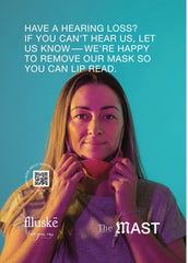 Photo of a woman with her mask moved down below her lips, smiling, with text saying 'Have a hearing loss? If you can't hear us, let us know - we're happy to remove our mask so you can lip read.'