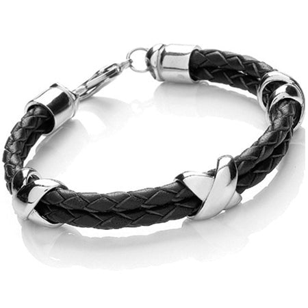 Black Leather Triple Cross Men's Bracelet