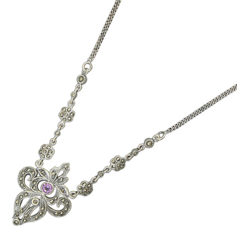 Ornate Sterling Silver Marcasite Necklace