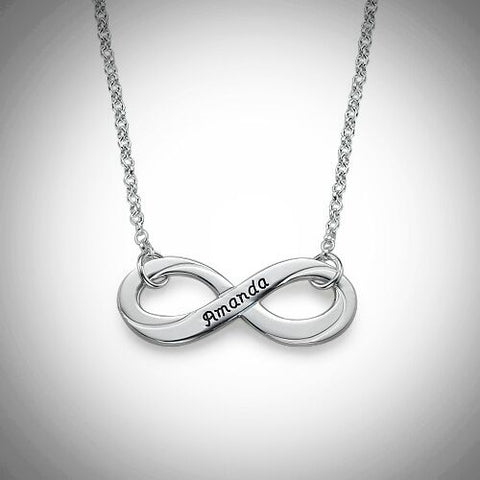 Silver Engraved Infinity Necklace